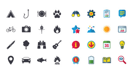 Set of Travel, Hiking and Camping icons. Fishing, Biking and Guitar music signs. Tourist tent, Food and Binoculars symbols. Photo and Rent a car. Calendar, Report and Browser window signs. Vector