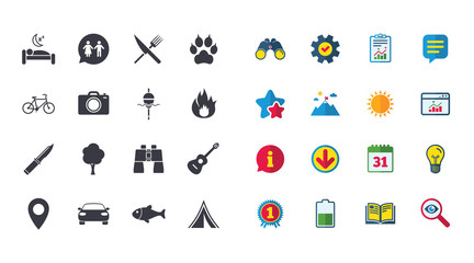 Set of Travel, Hiking and Camping icons. Fishing, Biking and WC toilet signs. Tourist tent, Food and Bed symbols. Photo and Rent a car. Calendar, Report and Browser window signs. Vector