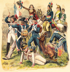 Historical military uniforms from France - 1789-1799 (French Revolution) / vintage illustration