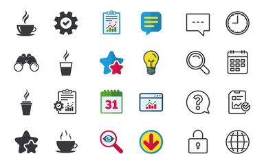Coffee cup icon. Hot drinks glasses symbols. Take away or take-out tea beverage signs. Chat, Report and Calendar signs. Stars, Statistics and Download icons. Question, Clock and Globe. Vector