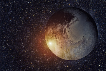 Solar System - Pluto. It is a dwarf planet in the Kuiper belt. Elements of this image furnished by NASA.