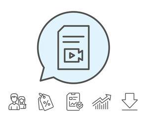 Document with Video content line icon. Vlog File with Camera sign. Paper page concept symbol. Report, Sale Coupons and Chart line signs. Download, Group icons. Editable stroke. Vector
