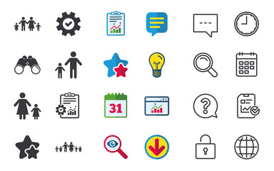 Large family with children icon. Parents and kids symbols. One-parent family signs. Mother and father divorce. Chat, Report and Calendar signs. Stars, Statistics and Download icons. Vector