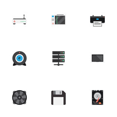 Flat Icons Router, Diskette, Hard Disk And Other Vector Elements. Set Of Computer Flat Icons Symbols Also Includes Laptop, Diskette, Disk Objects.