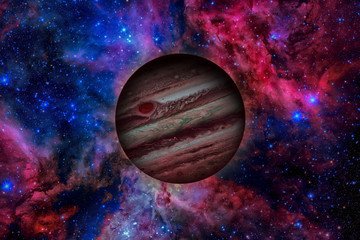 Planet Jupiter. Nebula on the background. Elements of this image furnished by NASA.