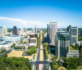Aerial view of downtown Sacramento