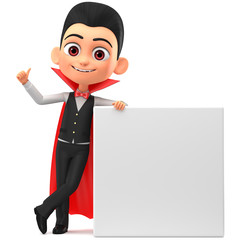 3d render illustration. Vampire with clean card showing thumbs up. Illustration for advertising.