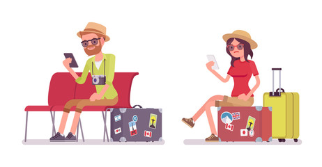 Tourist man and woman sitting