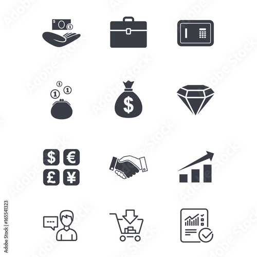 Money Cash And Finance Icons Handshake Safe And Currency Exchange