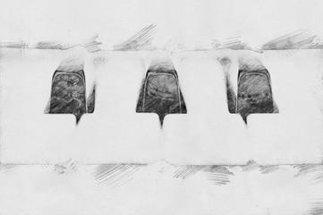 Piano. Sketch with pencil
