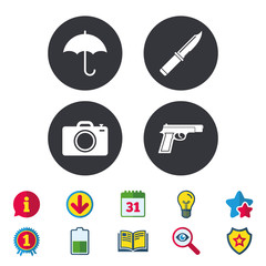 Gun weapon icon.Knife, umbrella and photo camera signs. Edged hunting equipment. Prohibition objects. Calendar, Information and Download signs. Stars, Award and Book icons. Vector