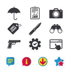Gun weapon icon.Knife, umbrella and photo camera signs. Edged hunting equipment. Prohibition objects. Browser window, Report and Service signs. Binoculars, Information and Download icons. Vector