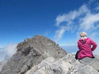 bergsteigerin am olymp, göttliche aussicht !