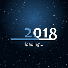 Loading 2018 inscription bar with stars in the space - flat design template