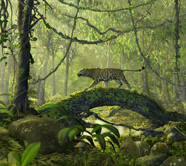 Enchanted Jungle Forest with a Panther Cat
