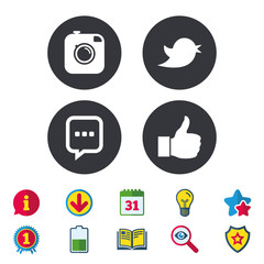 Hipster photo camera icon. Like and Chat speech bubble sign. Hand thumb up. Bird symbol. Calendar, Information and Download signs. Stars, Award and Book icons. Light bulb, Shield and Search. Vector