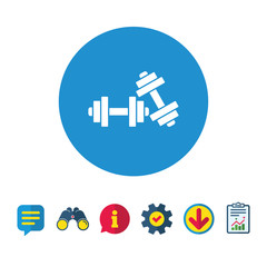 Dumbbells sign icon. Fitness sport symbol. Gym workout equipment. Information, Report and Speech bubble signs. Binoculars, Service and Download icons. Vector