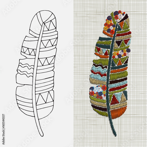 Embroidery Designs Feather Colorful Hoop Art Boho Crafts Hand