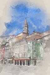 Tartinijev trg, Tartini Square, Piran, Slovenia, digital watercolor illustration