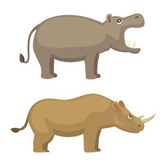 Cartoon funny rhinoceros and hippo vector illustration