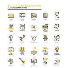 Flat Line Icons- Education and Learning
