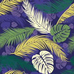 Seamless pattern with silhouettes of palm tree leaves. Seamless Floral Background. Vector illustration