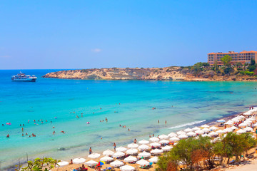 Fototapeten Zypern Coral Bay Beach in Paphos, Cyprus