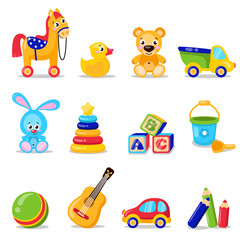Toys set isolated on white background. Including horse, teddy bear, ball, cubes toys . Vector illustration preschool activity children toys set isolated on white background