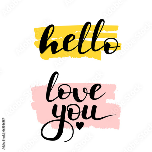 Hand Written Lettering Hello And Love You. Black, Pink And Yellow Greeting  Calligraphy Quotes