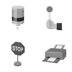 Water filter, stop sign and other monochrome icon in cartoon style. parking, printer icons in set collection.
