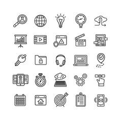 Search Engine Seo Black Thin Line Icon Set. Vector
