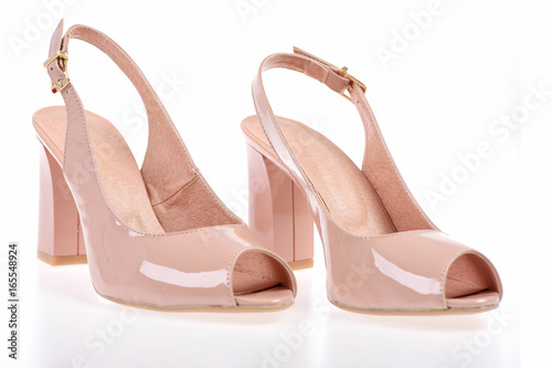 f0f0b4213ec9 Female high heel sandals isolated on white background.