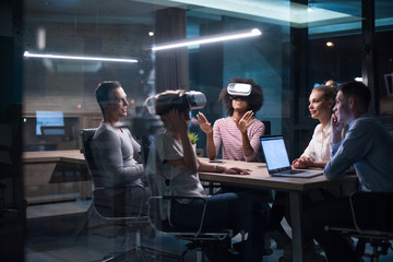 Multiethnic Business team using virtual reality headset