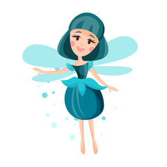 Beautiful fairy with wings, long hair and dress in cerulean colors flying surrounded by sparks vector Illustration