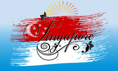 Singapore. Calligraphic cursive vintage Singapore lettering inscription with floral ornament on the brush stroke Singapore flag. Vector background for design, prints,emblem, cloth, cards, brochure