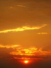 sunrise and cloudy sky