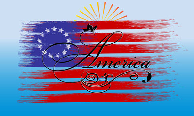 America. Calligraphic cursive vintage America lettering inscription with floral ornament on the  brush stroke american flag. Vector background for design, prints,emblem, cloth, brochure, souvenirs