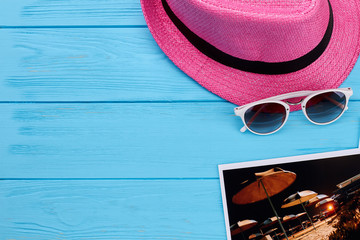 Woven pink hat, glasses, picture. Summer beach accessories for women.