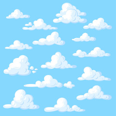 Cartoon clouds set on blue background