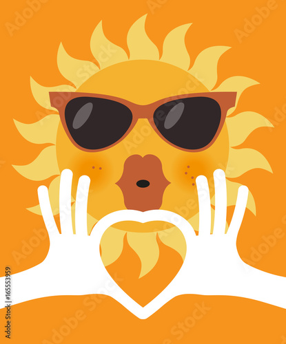77a655f352 The shape of heart in human hands and cartoon sun in glasses