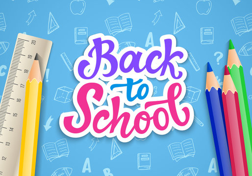 Back to school banner template with hand drawn ink modern calligraphy