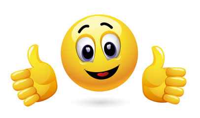 Smiley showing thumbs up. Emoticon thumbs up showing positive mood.