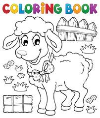Coloring book sheep theme 3
