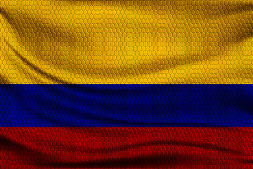 National flag of Colombia on wavy fabric with a volumetric pattern of hexagons. Vector illustration.