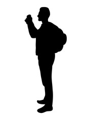 silhouette of man with camera