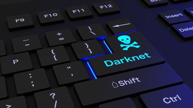 Black keyboard with glowing darknet enter key