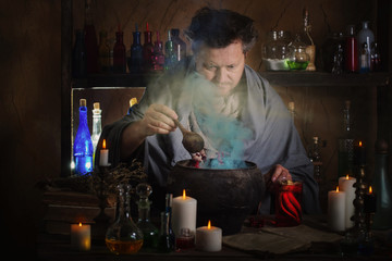 wizard brews a potion