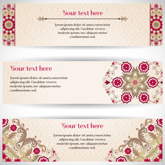 Set of three horizontal banners. Beautiful floral pattern in vintage style. Simple delicate ornament. Place for your text.