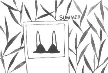 watercolor simple plants bra tree leaf hand drawn black summer lovely