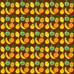 Bright seamless pattern with funny fruits